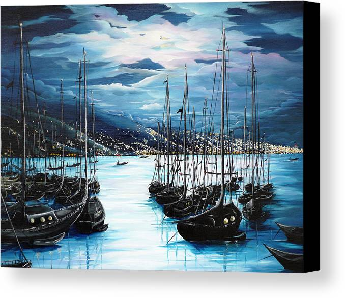Ocean Painting  Caribbean Seascape Painting Moonlight Painting Yachts Painting Marina Moonlight Port Of Spain Trinidad And Tobago Painting Greeting Card Painting Canvas Print featuring the painting Moonlight Over Port Of Spain by Karin Dawn Kelshall- Best