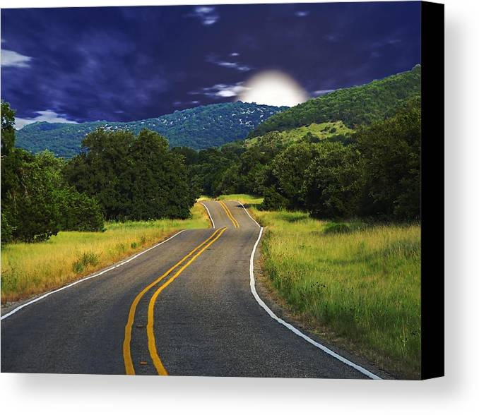 Landscape Canvas Print featuring the digital art Moonrise by Wendy J St Christopher