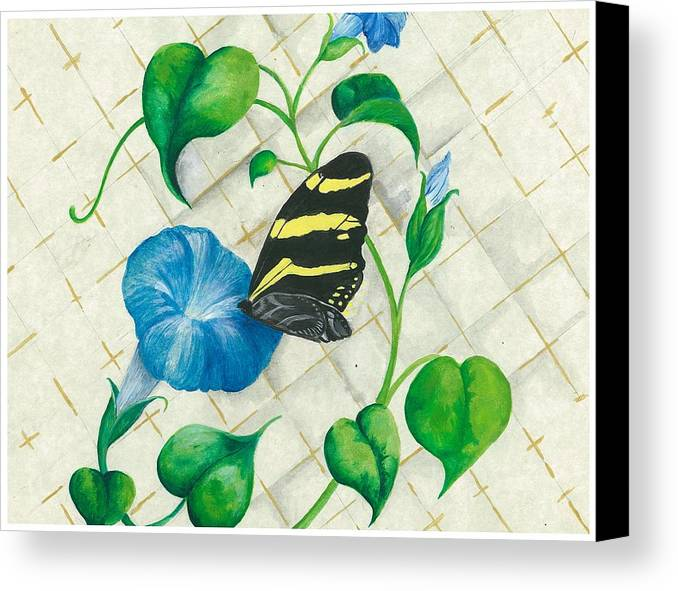 Morning Glories Canvas Print featuring the painting Morning Glories And Butterfly by Sally Balfany