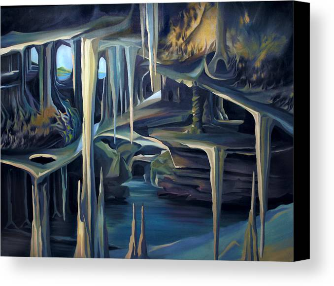 Mural Canvas Print featuring the painting Mural Ice Monks In November by Nancy Griswold
