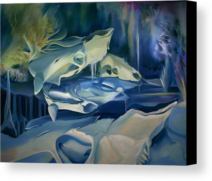 Surreal Canvas Print featuring the painting Mural Skulls Of Lifes Past by Nancy Griswold