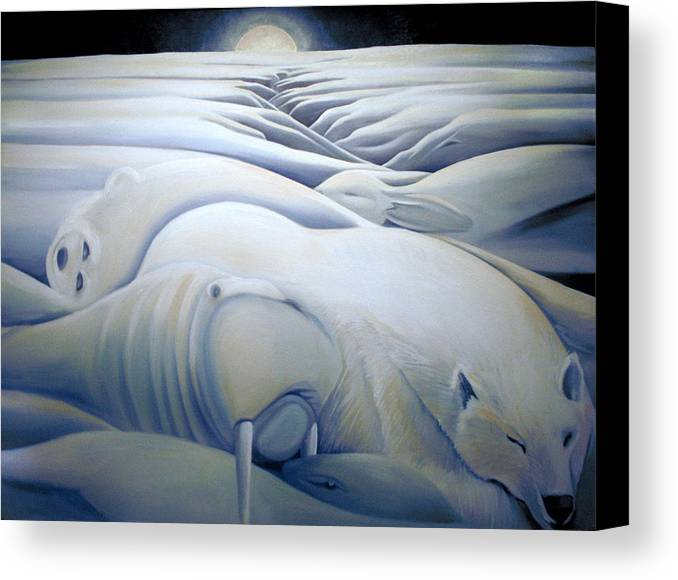Mural Canvas Print featuring the painting Mural Winters Embracing Crevice by Nancy Griswold