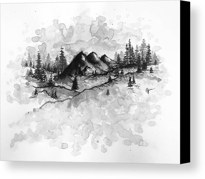 Mountains Canvas Print featuring the painting New Hampshire by Jaime Violano