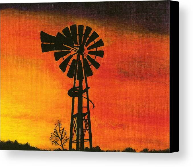 Windmill Desert Sunset Canvas Print featuring the painting New Mexico Sunset by Terri Warner