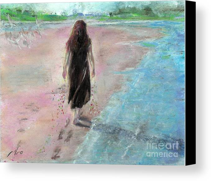 Pastel Canvas Print featuring the painting Normandy by Sigalit Aharoni