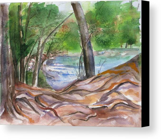 Landscape With Trees Canvas Print featuring the painting Oak Creek In Sedona by Kathy Mitchell