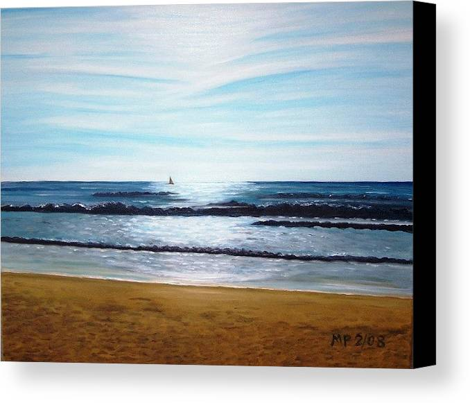 Seascape Canvas Print featuring the painting Ocean And Light by Madeleine Prochazka