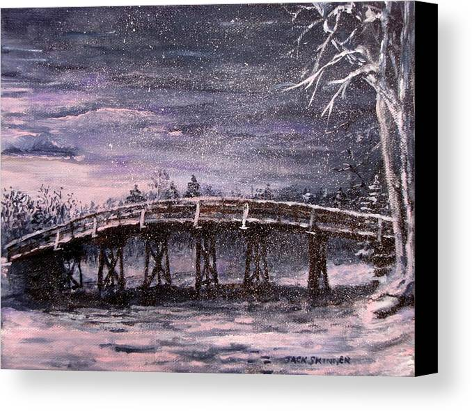 Old North Bridge Canvas Print featuring the painting Old North Bridge In Winter by Jack Skinner
