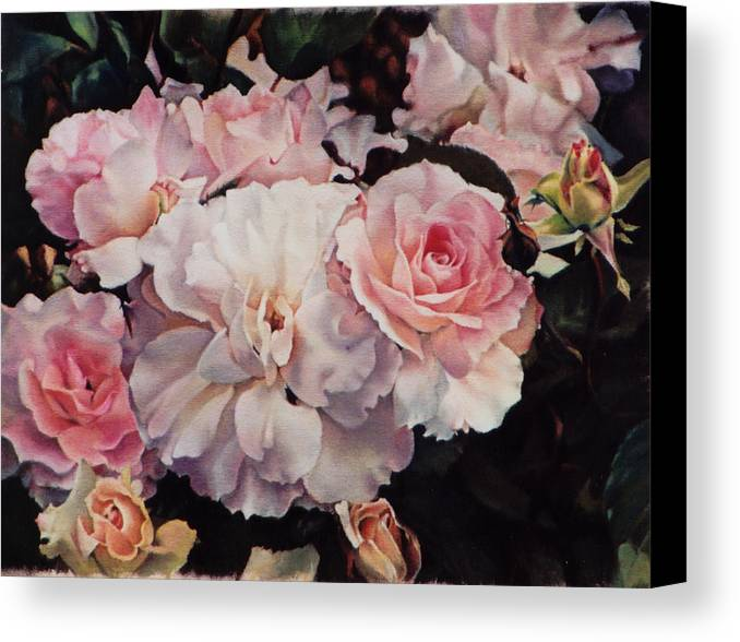 Flowers Canvas Print featuring the painting Old Roses by Marion Hylton