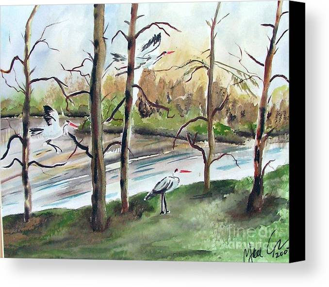 Pond Canvas Print featuring the painting On Golden Pond by Yael Eylat-Tanaka