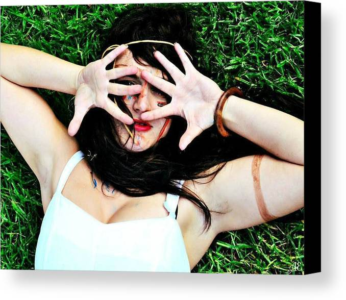 Model Canvas Print featuring the photograph On The Other Hand by Abigail Eremic