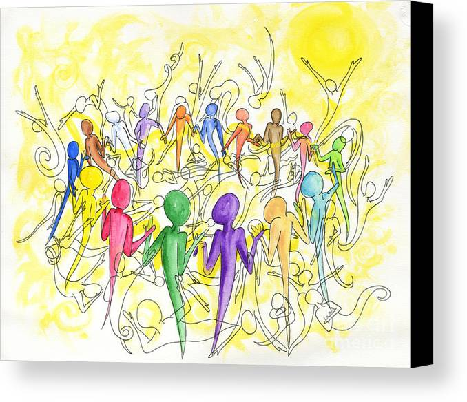 Community Canvas Print featuring the painting One Breath by Laura Brightwood