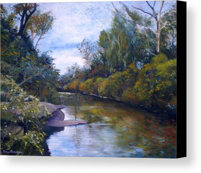 Impressionism Canvas Print featuring the painting Orara River Nsw Australia 1995  by Enver Larney