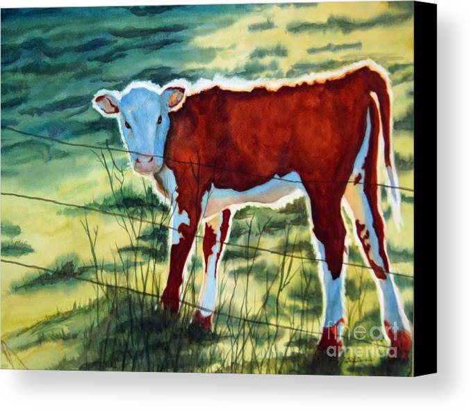 Animal Canvas Print featuring the painting Outstanding In His Field by Gail Zavala