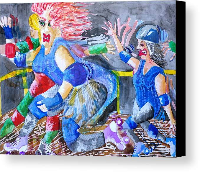 Women Canvas Print featuring the painting Outta The Way by Jame Hayes