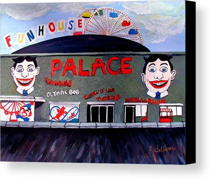 Tillie Canvas Print featuring the painting Palace Amusements Asbury Park Nj by Norma Tolliver