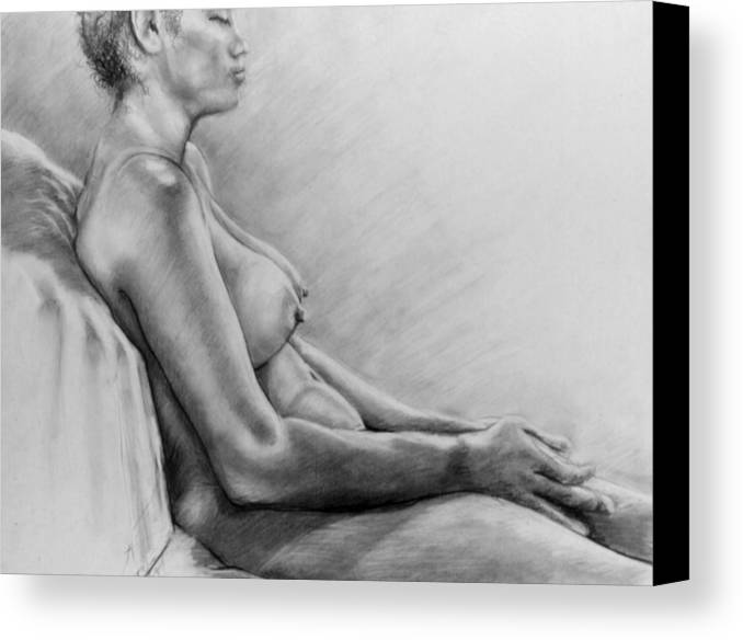 Woman Canvas Print featuring the drawing Peace by John Clum