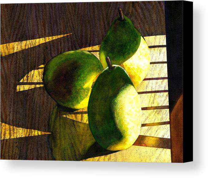 Pears Canvas Print featuring the painting Pears No 3 by Catherine G McElroy