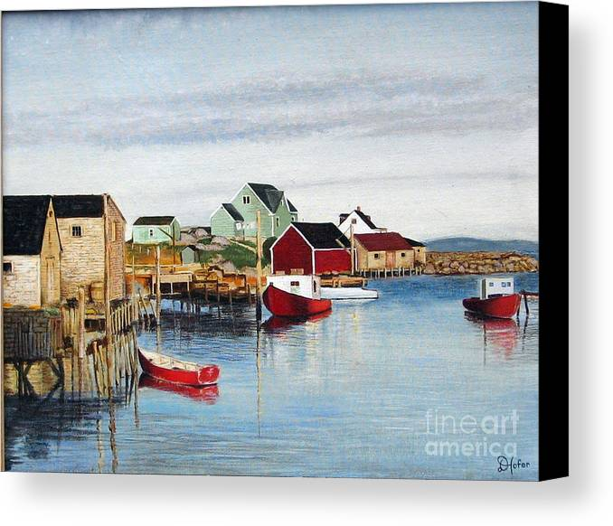 Seascape Canvas Print featuring the painting Peggy's Cove by Donald Hofer