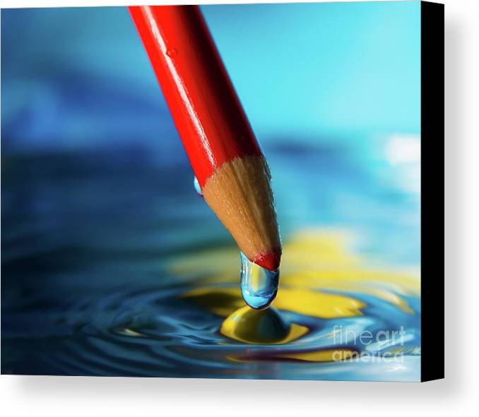 Abstract Canvas Print featuring the photograph Pencil Drip by Alissa Beth Photography