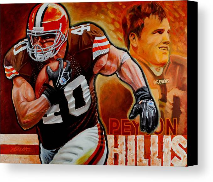 Football Canvas Print featuring the painting Peyton Hillis by Jim Wetherington