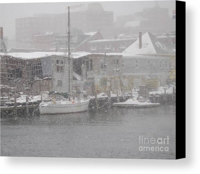 Sail Canvas Print featuring the photograph Pier In Disrepair by Faith Harron Boudreau