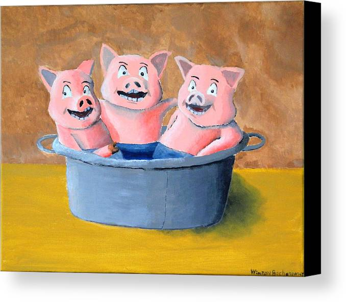 Pigs In A Tub Canvas Print featuring the painting Pigs In A Tub by Winton Bochanowicz