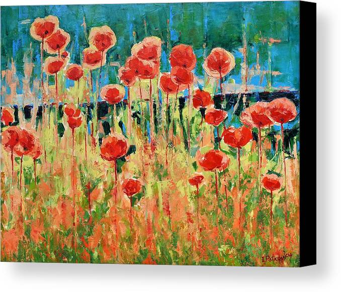 Poppies Canvas Print featuring the painting Poppies And Traverses 2 by Iliyan Bozhanov