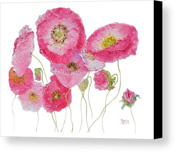 Poppies Canvas Print featuring the painting Poppy Painting On White Background by Jan Matson