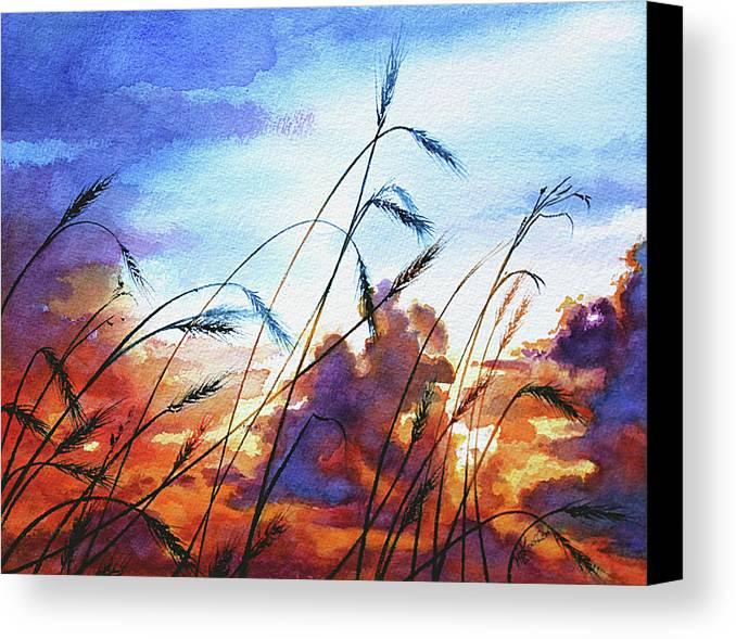 Prairie Sky Painting Canvas Print featuring the painting Prairie Sky by Hanne Lore Koehler