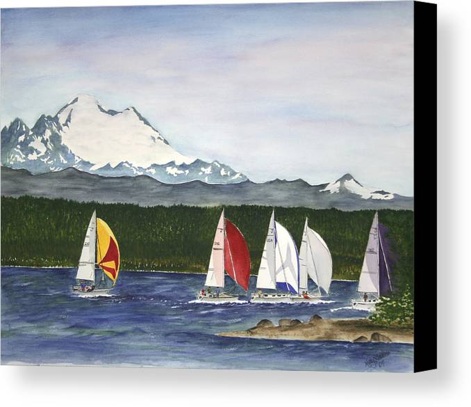 Sailboats Canvas Print featuring the painting Race Week On Whidbey Island by Mary Gaines