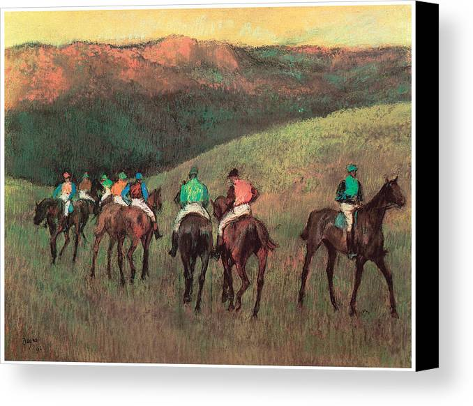 Racehorses In A Landscape Canvas Print featuring the pastel Racehorses In A Landscape by Edgar Degas