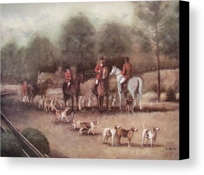 Charles Roy Smith Canvas Print featuring the painting Ready For The Hunt by Charles Roy Smith
