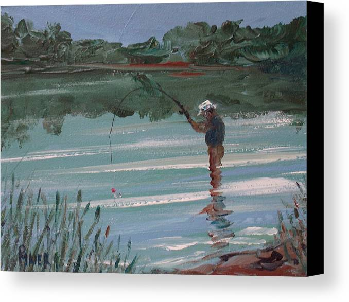 Fishin Canvas Print featuring the painting Red Bobber by Pete Maier