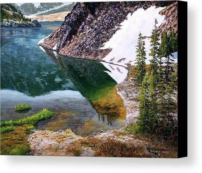 Ellery Lake Canvas Print featuring the painting Reflections In Ellery by Donald Neff
