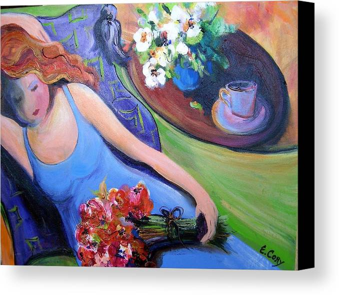 Woman Canvas Print featuring the painting Relaxation In Blue by Elaine Cory