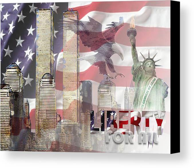 9/11 Canvas Print featuring the digital art Remembering 9-ll by Arline Wagner