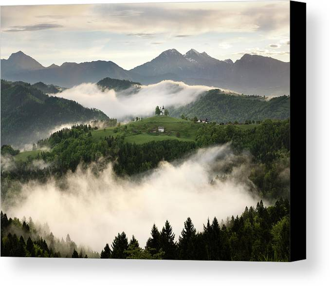 Sunrise Canvas Print featuring the photograph Rolling Fog At Sunrise With Mountains Of Kamnik Savinja Alps At by Reimar Gaertner