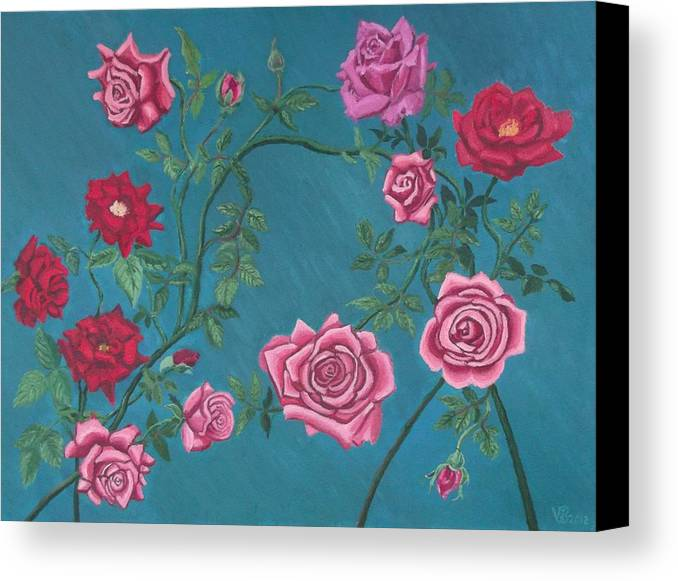Roses Canvas Print featuring the painting Roses by Vera Smith