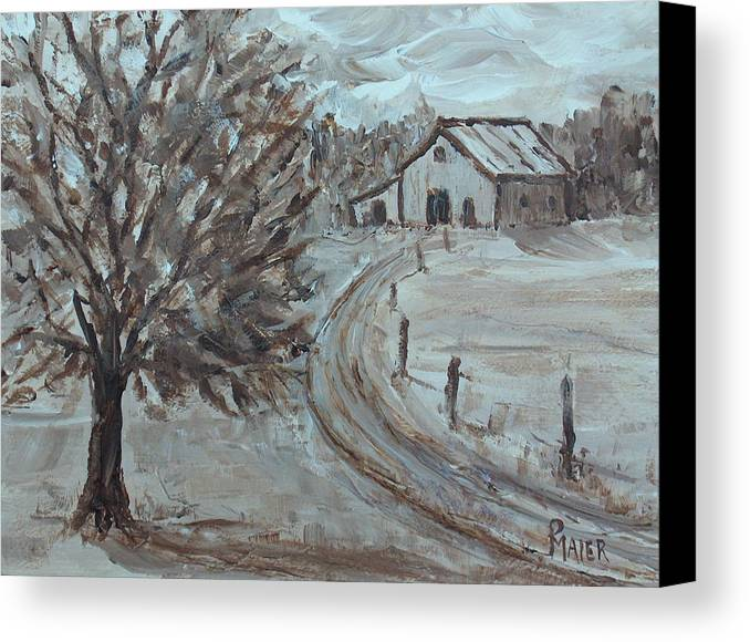 Landscape Canvas Print featuring the painting Rustic Road by Pete Maier