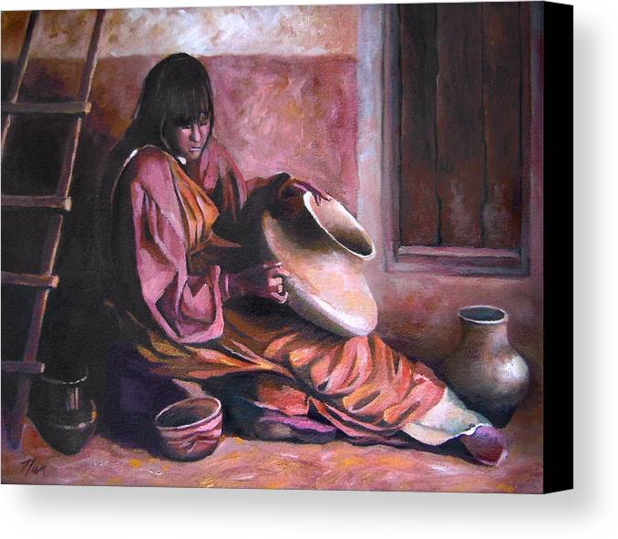 Native American Canvas Print featuring the painting Santa Clara Potter by Nancy Griswold