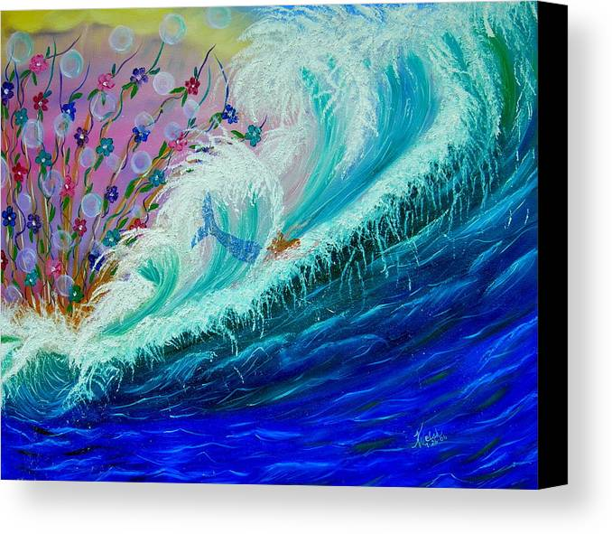 Ocean Canvas Print featuring the painting Sea Fantasy by Kathern Welsh