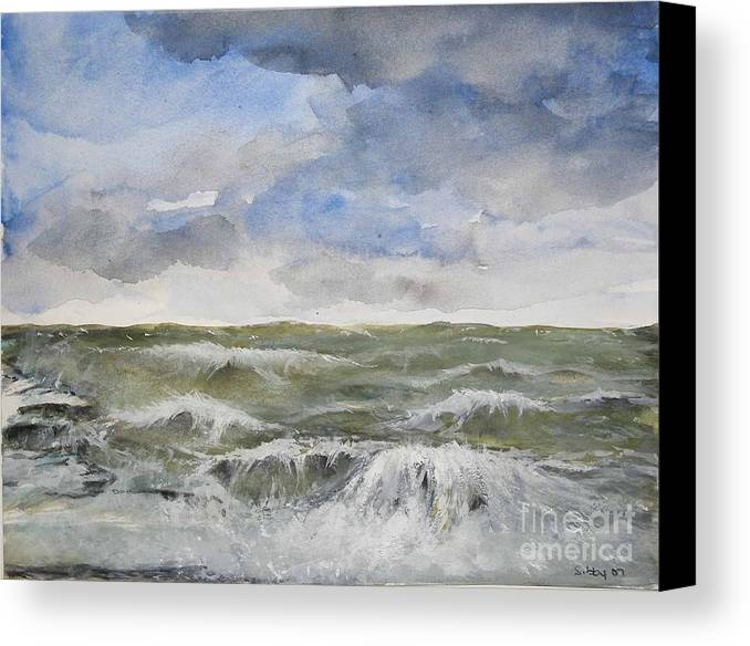 Seascape. Coast Canvas Print featuring the painting Sea Storm by Sibby S
