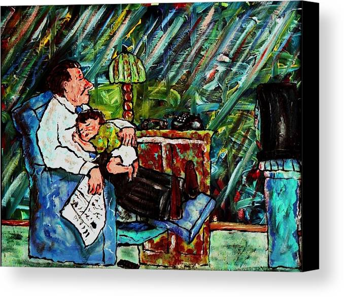 Sleep Canvas Print featuring the painting Shhh.... by Richard Hubal