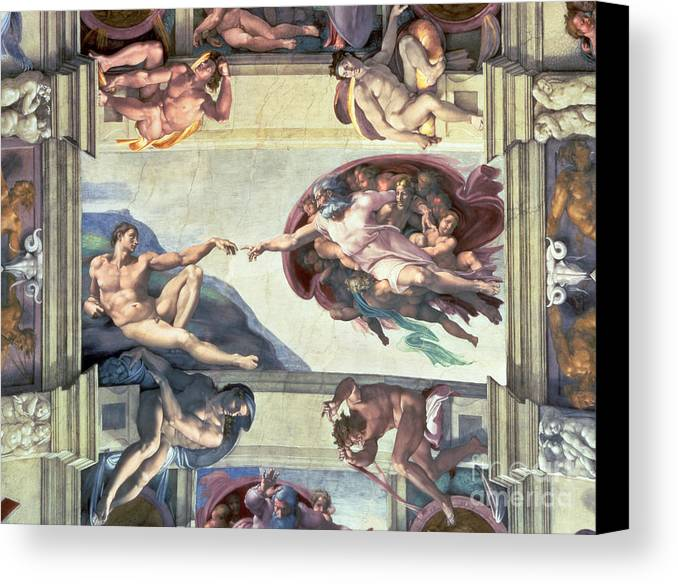 Sistine Canvas Print featuring the painting Sistine Chapel Ceiling Creation Of Adam by Michelangelo
