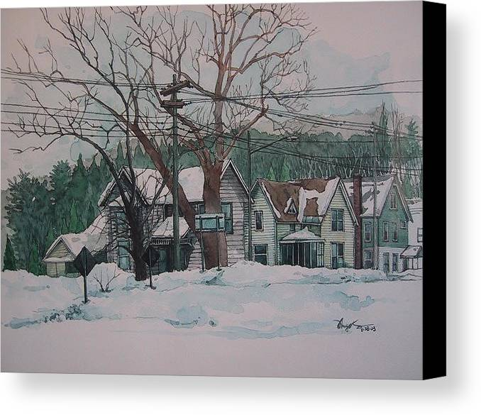 Landscape Canvas Print featuring the painting Snow Next Door by Richard Ong