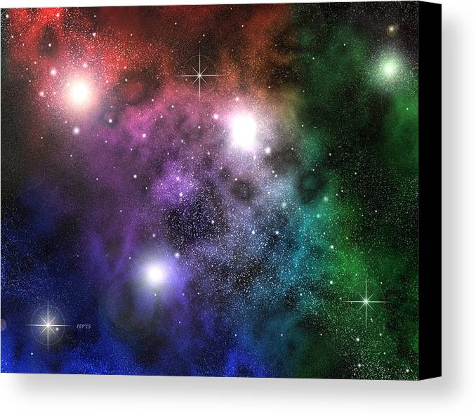 Space Canvas Print featuring the digital art Space Clouds by Phil Perkins