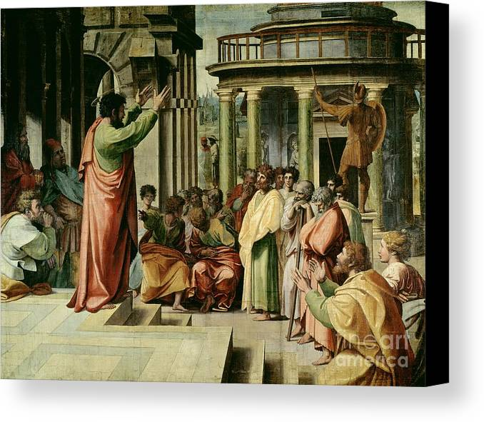 Paul Canvas Print featuring the painting St. Paul Preaching At Athens by Raphael