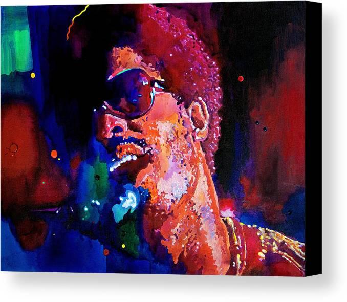 Stevie Wonder Canvas Print featuring the painting Stevie Wonder by David Lloyd Glover