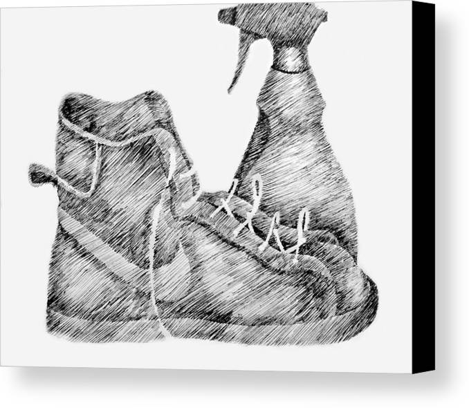 Pen Canvas Print featuring the drawing Still Life With Shoe And Spray Bottle by Michelle Calkins